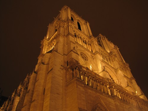 notre dame cathedral night 2 500x375 - Taking the Eurostar from London to Paris