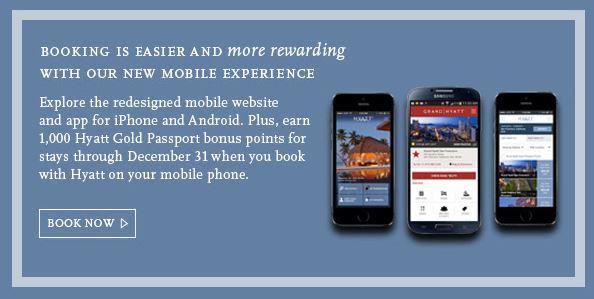 hyatt app free points - Get 1,000 Hyatt Points for booking through their app or mobile site