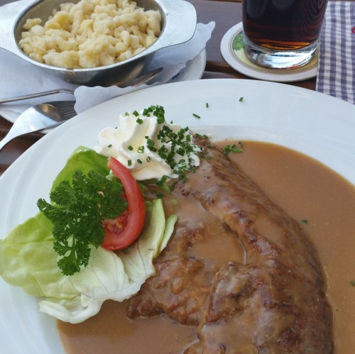 veal schnitzel spatzel e1414382082239 500x499 - Partnach Gorge + Garmisch-Partenkirchen, Germany: Day 2
