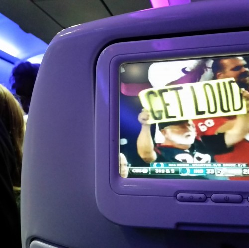 virgin america seatback screen e1413430323661 500x499 - Travel Tip: Be courteous to the person in front of you when using personal inflight video screens