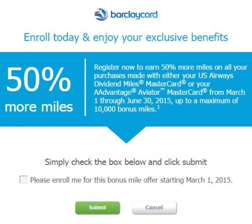 barclaycard 50 bonus usairways 500x444 - Earn 50% more miles with the Barclaycard USAirways/American Airlines card