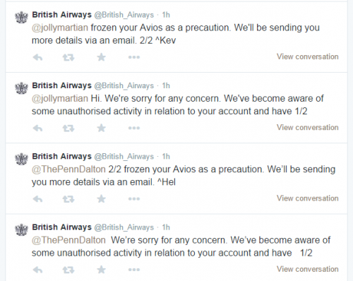 british airways twitter 500x398 - British Airways accounts frozen as a precaution - Don't Panic!