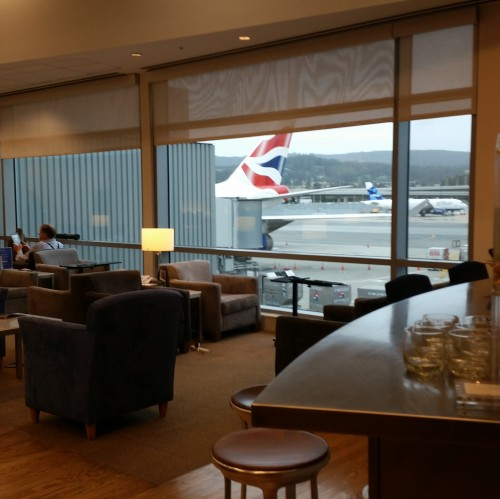 ba business class lounge plane sfo 500x499 - British Airways First Class & Business Class Terraces Lounge San Francisco SFO Review