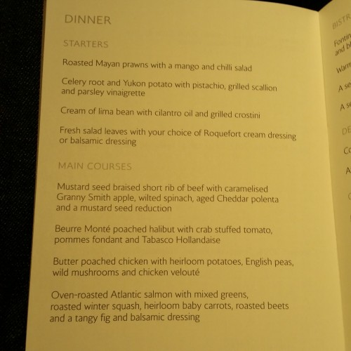ba first class dinner menu 500x500 - British Airways First Class 747-400 San Francisco SFO to London Heathrow LHR Review