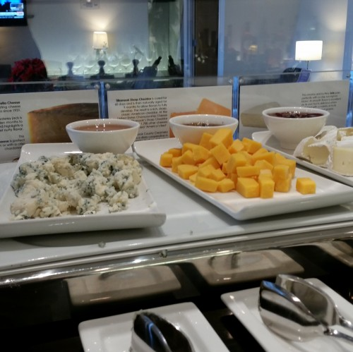 ba lounge sfo cheese 500x499 - British Airways First Class & Business Class Terraces Lounge San Francisco SFO Review