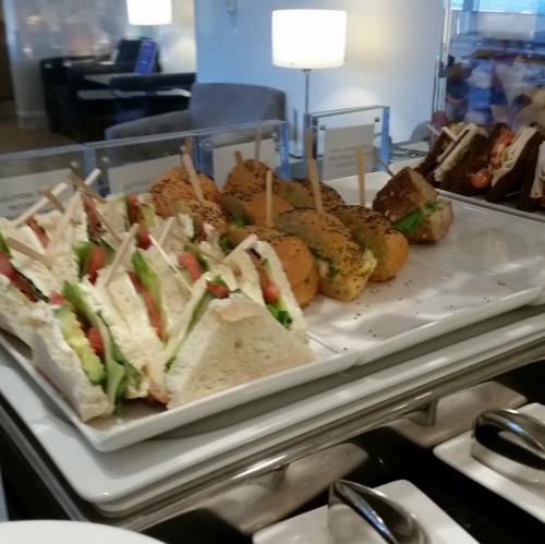 ba lounge sfo food 500x499 - British Airways First Class & Business Class Terraces Lounge San Francisco SFO Review