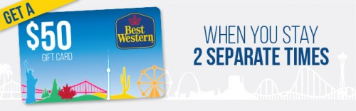 best western gift card 500x156 - Best Western spring promo: Stay twice, get a $50 gift card