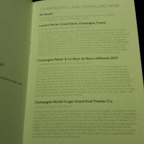 british airways first class champagne list 500x500 - British Airways First Class 747-400 San Francisco SFO to London Heathrow LHR Review