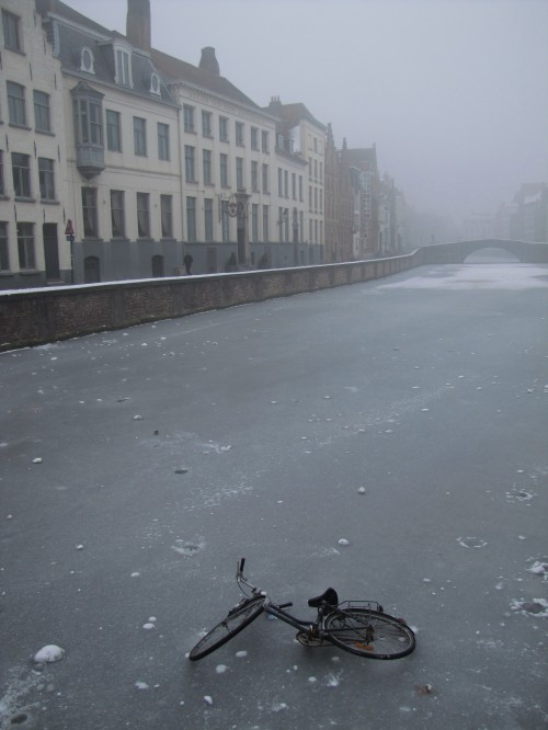 bruges frozen canal bicycle 500x666 - A winter day in Bruges, Belgium