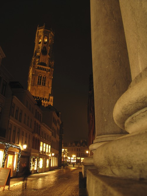 bruges tower city hall night 500x666 - Traveling from Zurich to Luxembourg to Bruges