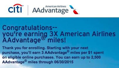 citi aadvantage online bonus - Targeted: 3x miles on the Citi AAdvantage Platinum Select Visa