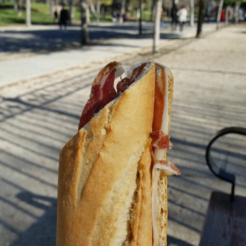 jamon sandwich retiro madrid 500x500 - What to do on a layover in Madrid, Spain