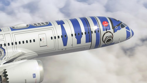 r2 d2 ana livery star wars plane 500x281 - ANA introduces R2-D2 Star Wars-themed plane