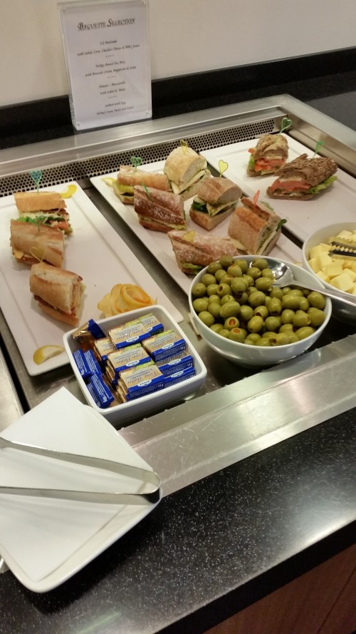 cathay lounge frankfurt sandwiches 500x889 - Cathay Pacific First Class & Business Class Lounge Frankfurt FRA Review