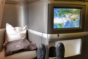 cathay pacific first class 777 suite 300x200 - Travel Tip: Always leave your shoes on until the plane is in the air
