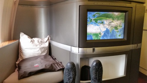 cathay pacific first class 777 suite 500x281 - Travel Tip: Always leave your shoes on until the plane is in the air