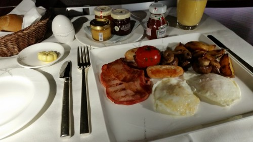 cathay pacific first class breakfast 500x281 - Cathay Pacific First Class 777-300ER Frankfurt FRA to Hong Kong HKG Review
