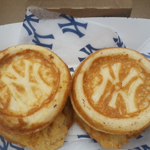 yankees chicken waffle sliders 500x500 - One busy day in New York City: Bronx Brewery, Yankees, Last Week Tonight & more
