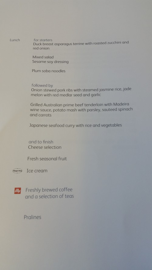 cathay pacific business class menu 500x889 - Cathay Pacific Business Class 777-300 Hong Kong HKG to Tokyo Narita NRT: Around The World