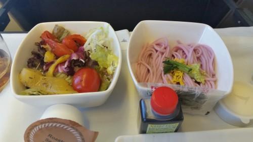 cathay pacific plum soba salad 500x281 - Cathay Pacific Business Class 777-300 Hong Kong HKG to Tokyo Narita NRT: Around The World