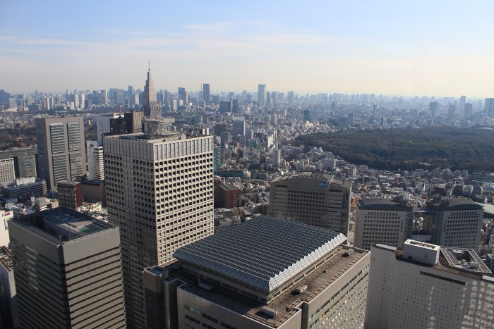 view from tokyo government building 700x467 - Exploring the observation decks, gardens, & sushi in Shinjuku & Shibuya - Tokyo, Japan