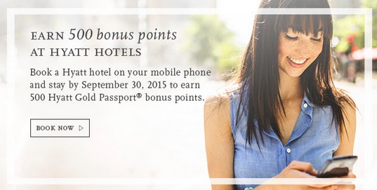 hyatt bonus points mobile booking app - Earn 500 Hyatt Gold Passport points for a mobile booking