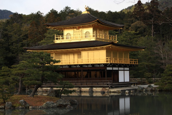 kinkaku temple 700x467 - A visit to Ryoanji Temple, Kinkaku Temple, & Fushimi Inari Shrine + eating takoyaki & okonomiyaki in Kyoto, Japan