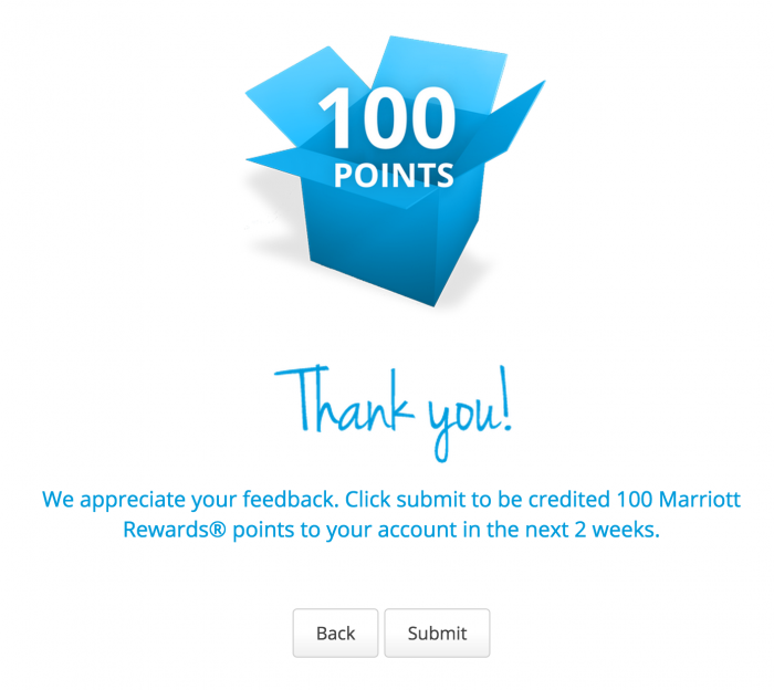 marriott rewards survey 700x624 - 100 quick free Marriott Rewards points for filling out a survey