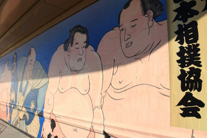 sumo wrestler mural 700x467 - Attending the Grand Sumo Tournament in Tokyo, Japan