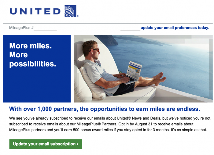 united free miles e mail 700x508 - Get 500 United miles for signing up for e-mails