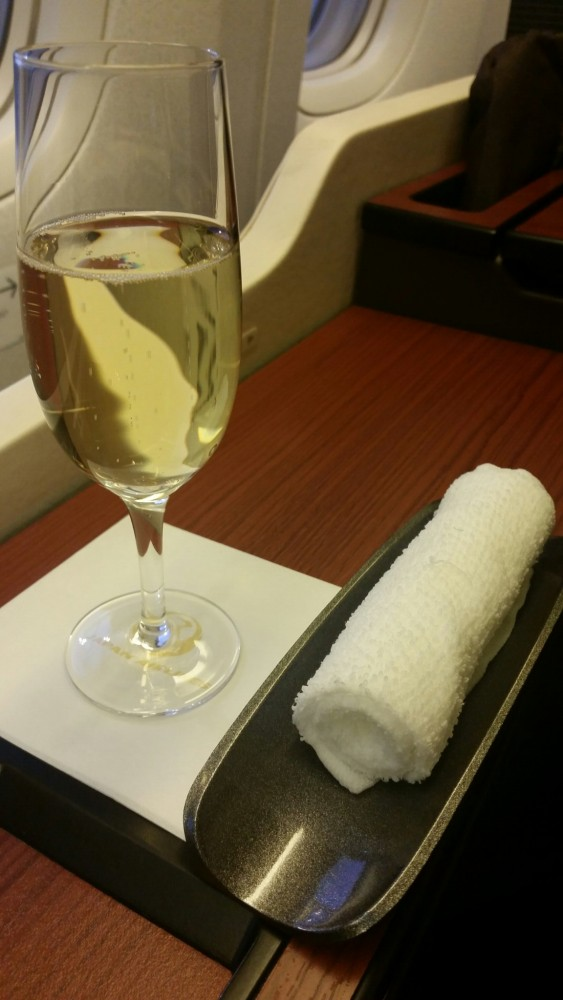 jal first class champagne 563x1000 - Japan Airlines First Class Suite 777-300ER Tokyo Narita NRT to Los Angeles LAX review