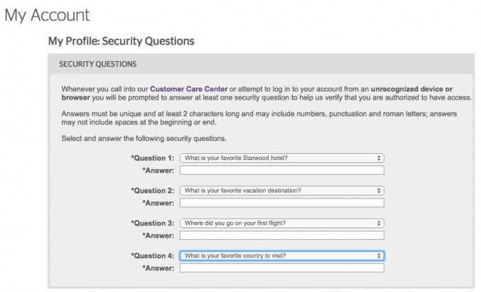 150 free starwood points 700x425 - Get a quick free 150 Starwood points for updating security questions