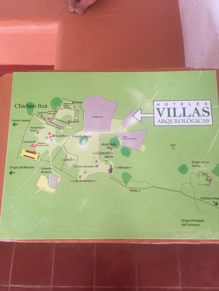 chichen itza map 700x933 - Hotel Villas Arqueologicas Chichen Itza, Mexico review
