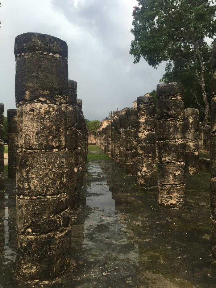 columns chichen itza 700x933 - 24 hours in Chichen Itza, Mexico