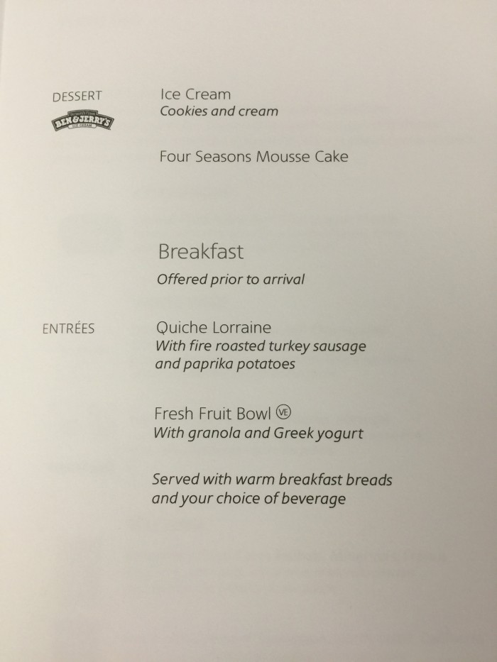 american airlines business class menu breakfast 700x933 - American Airlines Business Class Boeing 767-300 New York JFK to Manchester MAN review