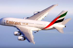 emirates a380 jetpack video 300x200 - Video: Flying around an Emirates Airline A380 with jetpacks