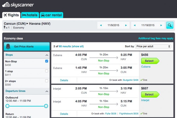 skyscanner cuba 700x467 - Flying to and from Havana, Cuba on Cubana - airline review