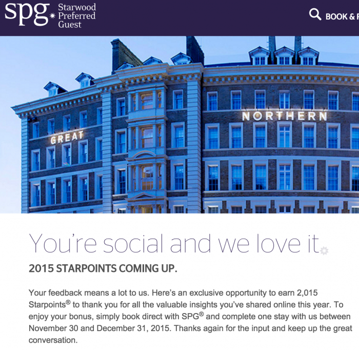2015 spg starpoints december 700x682 - Get 2,015 Starpoints on your next SPG stay before December 31st, 2015