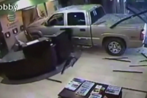 guy drives truck into hotel 300x200 - Man angry about hotel bill crashes truck into hotel