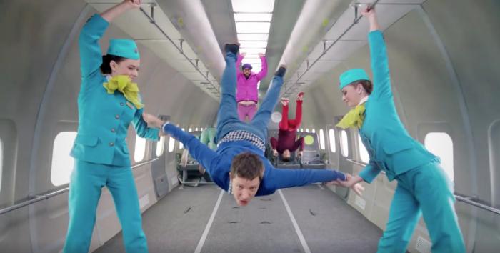 """ok go upside down inside out zero gravity 700x354 - OK Go shares new music video """"Upside Down & Inside Out"""" shot in zero gravity on airplane"""