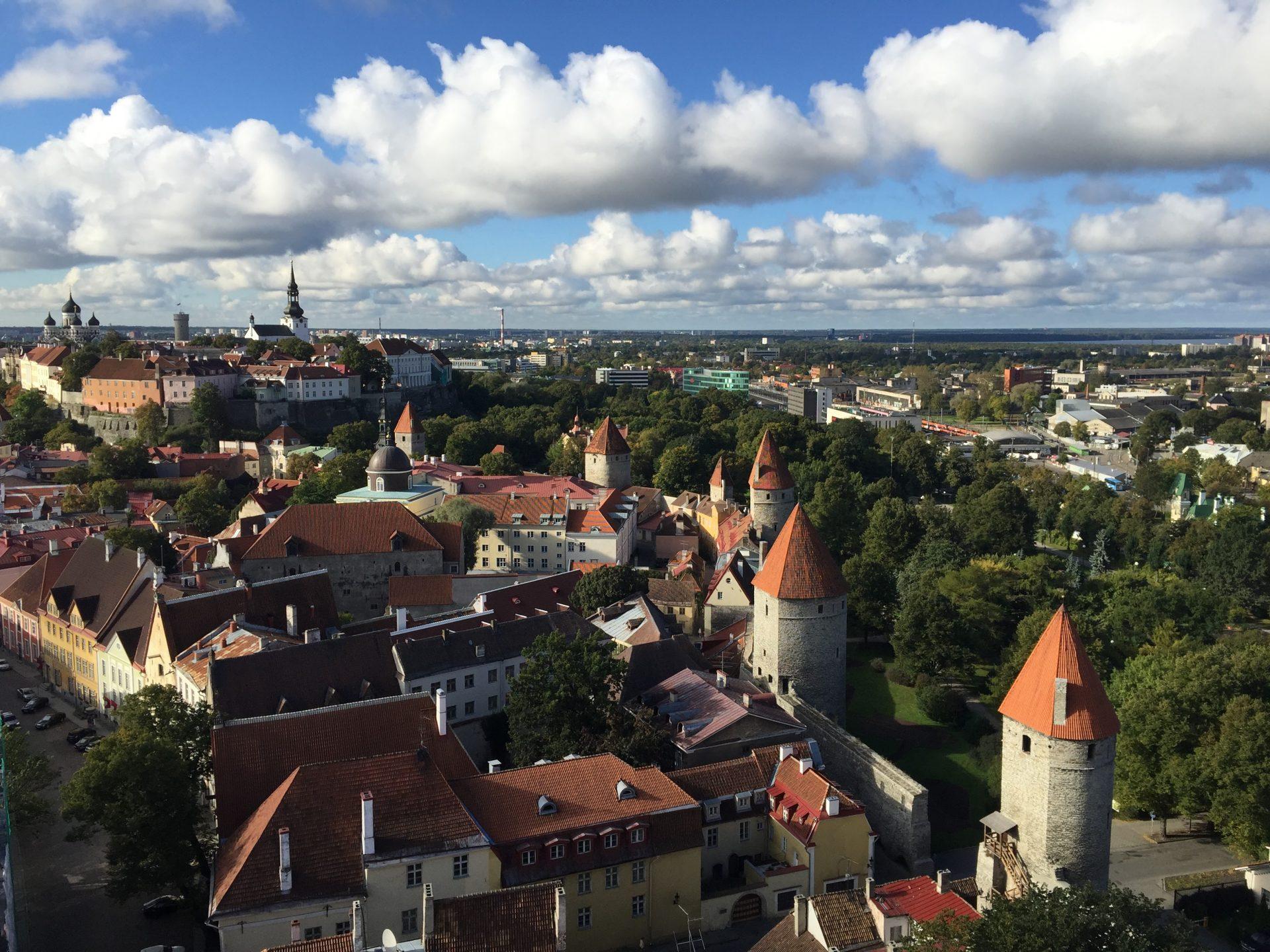 Exploring the views of the Old Town Tallinn, Estonia