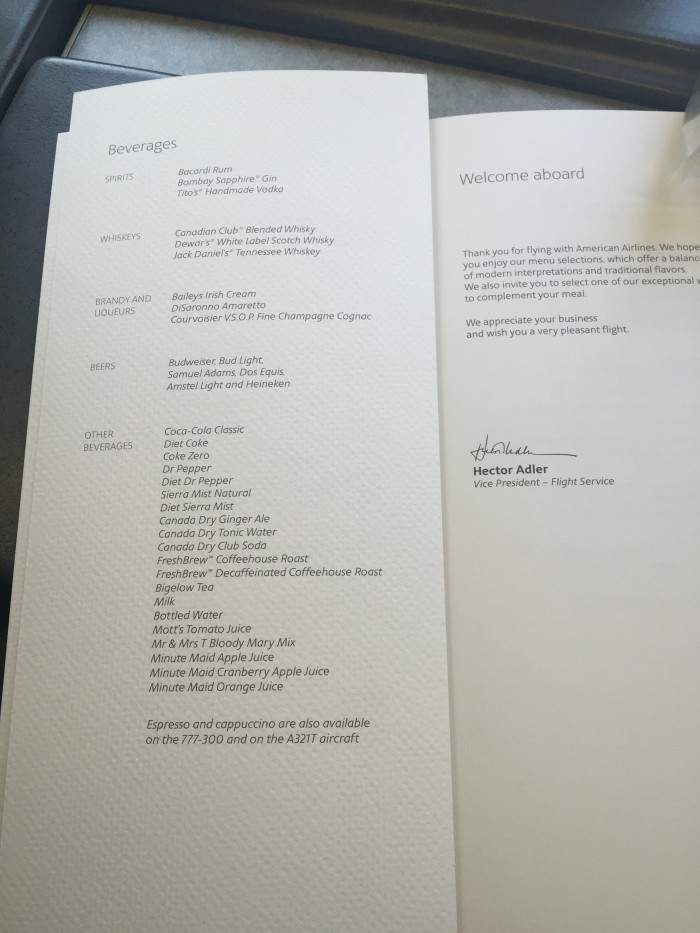 American-Airlines-First-Class-drink-menu