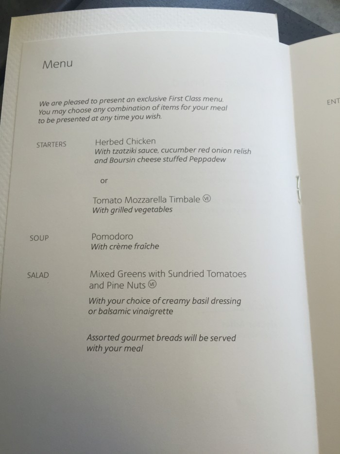 American-Airlines-First-Class-lunch-menu
