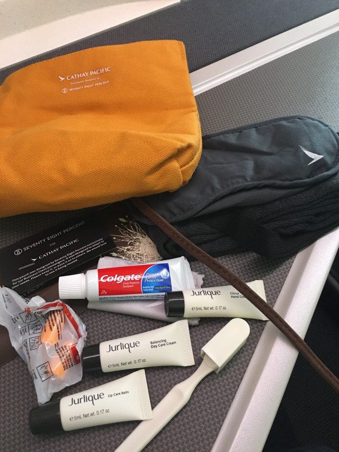 cathay pacific business class amenity kit 700x933 - Cathay Pacific Business Class Boeing 777-300ER Los Angeles LAX to Hong Kong HKG review