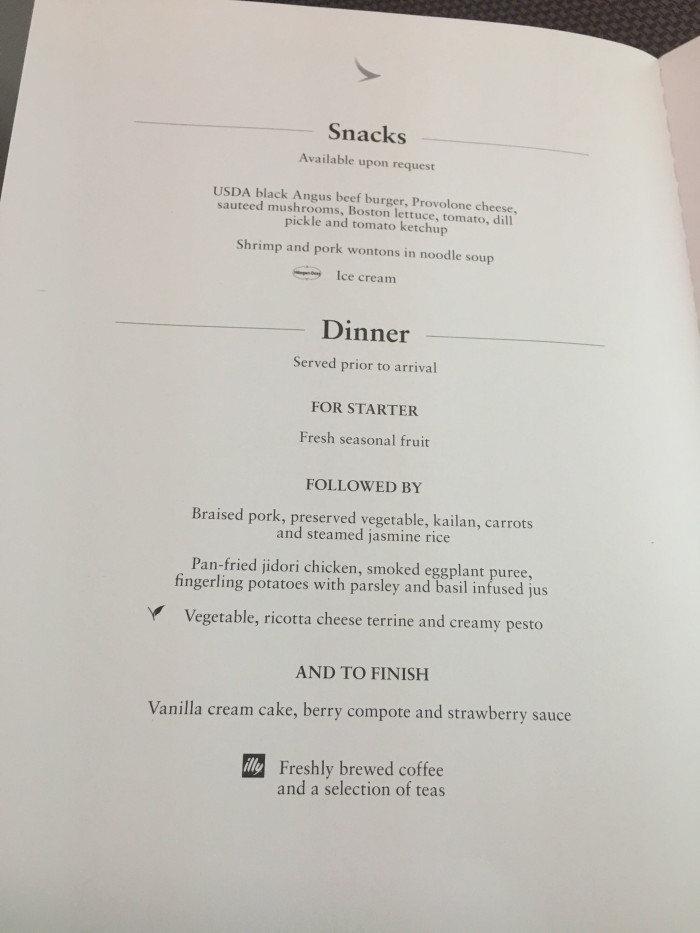cathay pacific business class dinner menu 700x933 - Cathay Pacific Business Class Boeing 777-300ER Los Angeles LAX to Hong Kong HKG review