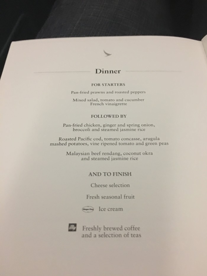 cathay pacific business class dinner menu hkg kul 700x933 - Cathay Pacific Business Class Airbus A330 Hong Kong HKG to Kuala Lumpur KUL review