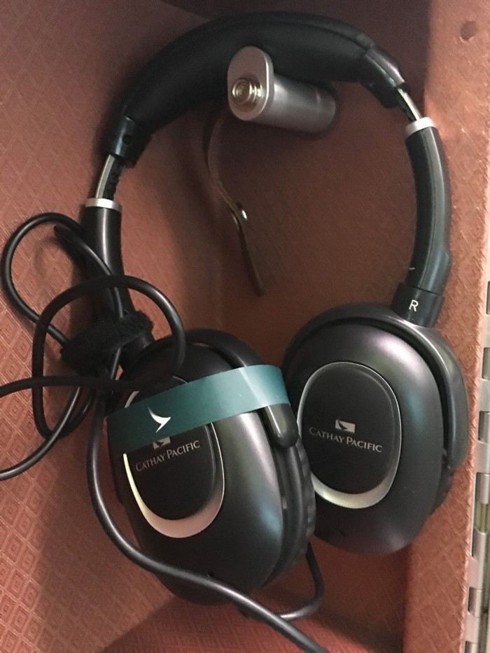 cathay pacific business class headphones 700x933 - Cathay Pacific Business Class Boeing 777-300ER Los Angeles LAX to Hong Kong HKG review