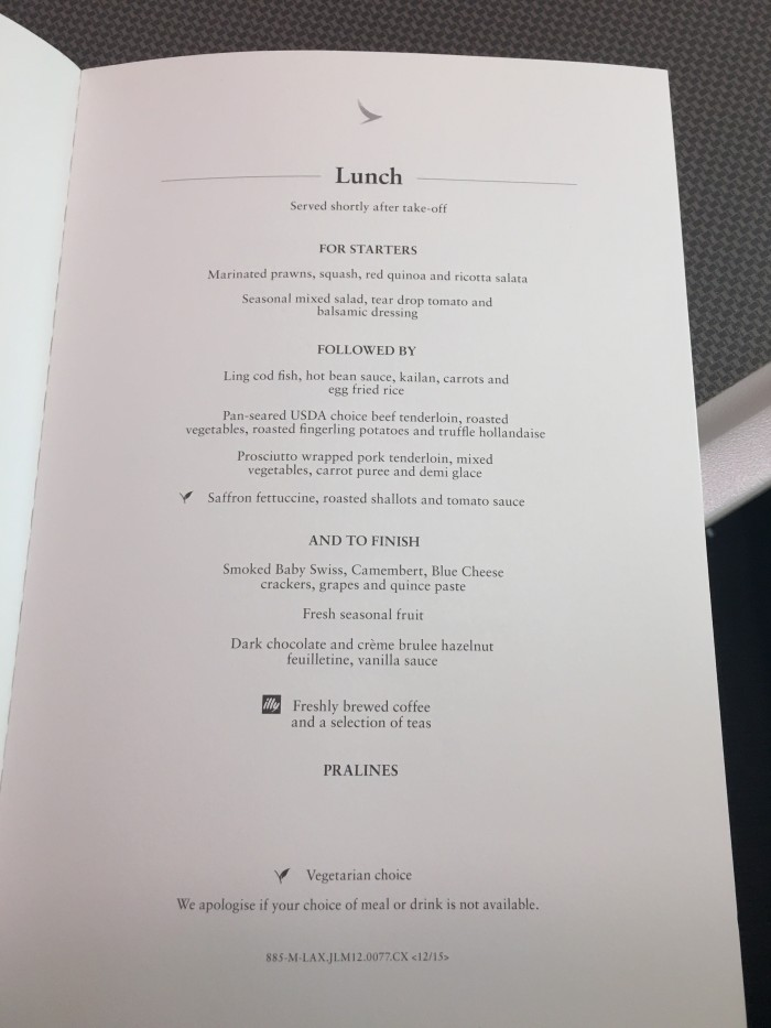 cathay pacific business class lunch menu 700x933 - Cathay Pacific Business Class Boeing 777-300ER Los Angeles LAX to Hong Kong HKG review