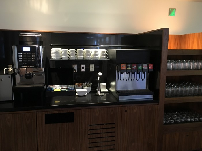 oneworld lounge lax coffee soda 700x525 - OneWorld Business Lounge Los Angeles LAX review