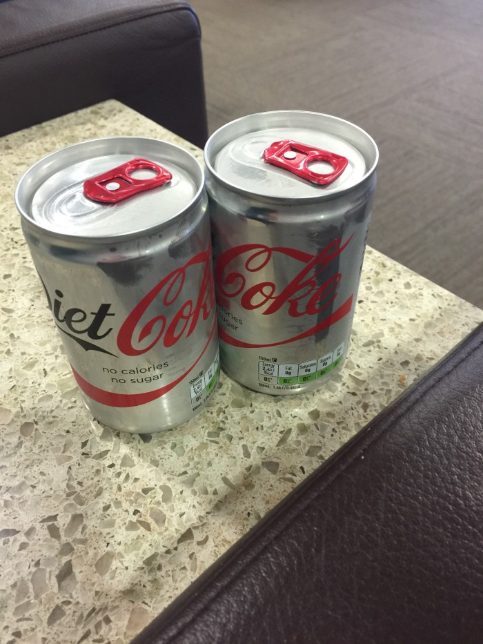 tiny diet cokes 700x933 - American Airlines Flagship Lounge London Heathrow LHR review